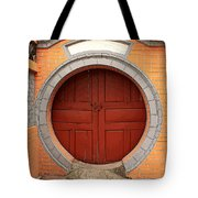 Orange Moon Door Tote Bag