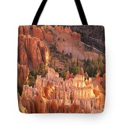 Orange Rock Formations And Trees At Tote Bag