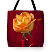 Orange Rose In Red Pitcher Tote Bag