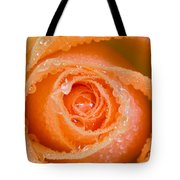 Orange Rose With Dew Tote Bag
