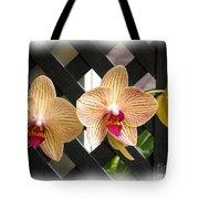 Orange Striped Orchids Tote Bag