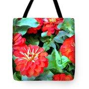 Orange Zinnias Tote Bag