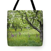 Orchard With Flowering Orchids Tote Bag