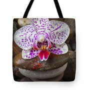 Orchid On Stack Of Rocks Tote Bag