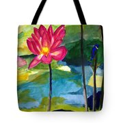 Orchid With Blue Bird Tote Bag