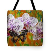 Orchids With Speckled Butterfly Tote Bag