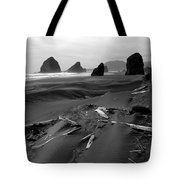 Oregon Coast Black And White Tote Bag