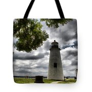 Overcast Clouds At Turkey Point Lighthouse Tote Bag