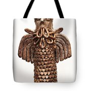 Owl Totem Bronze Gold Color Wings Beak Hair Penetrating Eyes  Scales Feathers   Tote Bag by Rachel Hershkovitz
