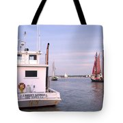 Oyster Boat On The River  Tote Bag