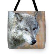 Painted Grey Wolf Tote Bag