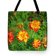 Painted Lady Butterfly In The Marigolds  Tote Bag