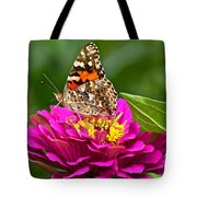 Painted Lady With Zinnia Tote Bag