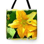 Painted Squash Blossoms Tote Bag