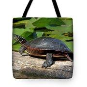 Painted Turtle On Log Tote Bag