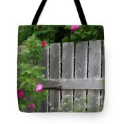 Painterly Fence And Roses Tote Bag
