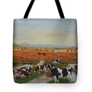 Painting Cows On Cors Caron Tregaron Tote Bag