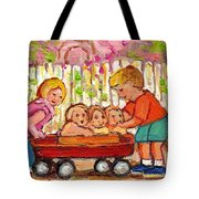 Paintings For Children - Boy - Girl - Red Wagon And Puppies Tote Bag