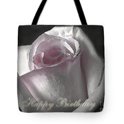 Pale Pink Rose Greeting Card.   Birthday Tote Bag