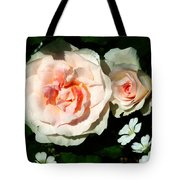 Pale Pink Roses In Garden Tote Bag