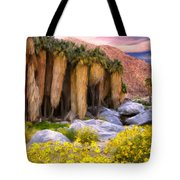 Palm Oasis And Wildflowers Tote Bag