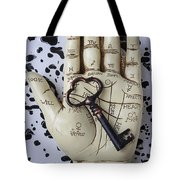 Palm Reading Hand And Key Tote Bag