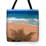 Palm Shadow On The Beach Tote Bag