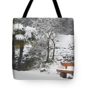 Palm Tree And A Bench With Snow Tote Bag