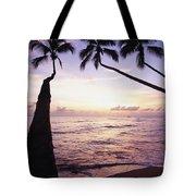 Palm Trees At Dusk Tote Bag