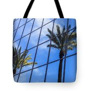 Palm Trees Reflection On Glass Office Building Tote Bag