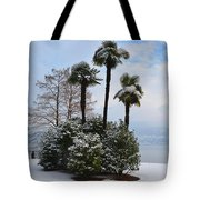 Palm Trees With Snow Tote Bag