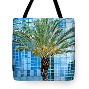Palme Tree And Blue Building Tote Bag