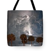 Palms And Lightning  Tote Bag