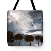 Palms And Lightning 3 Tote Bag