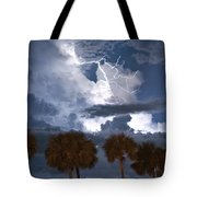 Palms And Lightning 4 Tote Bag