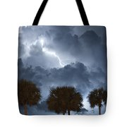 Palms And Lightning 5 Tote Bag