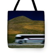 Panned View Of A Bus On Interstate 15 Tote Bag