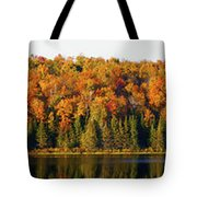 Panorama Of Trees Along The Waters Edge Tote Bag