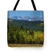 Panorama Scenic Autumn View Of The Colorado Indian Peaks Tote Bag