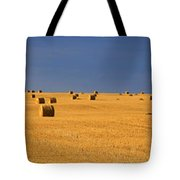 Panoramic Of A Straw Field, Near Val Tote Bag