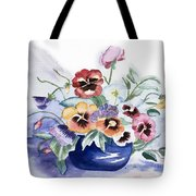 Pansies In Blue Pot Tote Bag