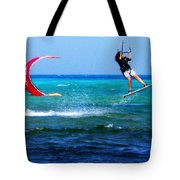 Para Surfing In Cozumel Mexico Tote Bag