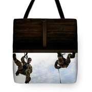 Pararescuemen Take Part In A Rappelling Tote Bag