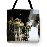 Paratroopers Gather Around The Back Tote Bag by Stocktrek Images