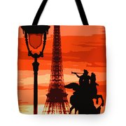 Paris Tour Eiffel Red Tote Bag