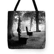 Park Bench In Black And White Tote Bag