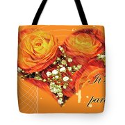 Party Invitation - Orange Roses Tote Bag