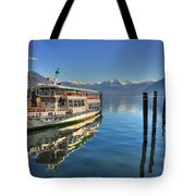 Passenger Ship Reflected On The Water Tote Bag