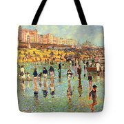 Passing Time On Brighton Beach Tote Bag