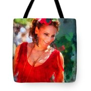Passionate Gypsy Blood. Flamenco Dance Tote Bag by Jenny Rainbow